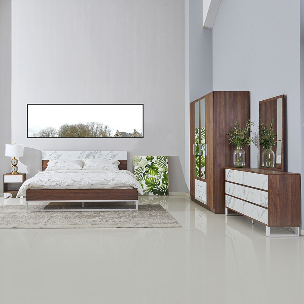 Morena 180X200 King Bed - Dark Walnut / Off White