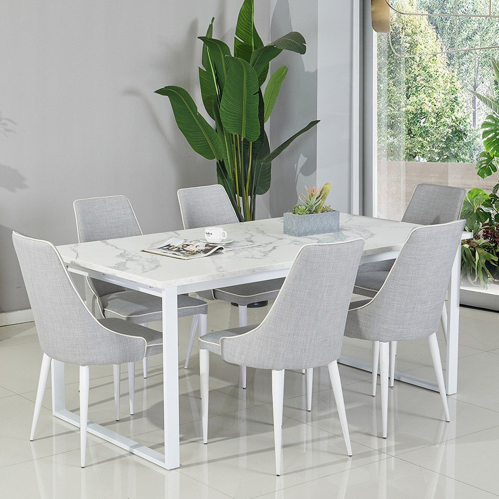 Morena 1+6 Dining Set - White Marble / Light Grey