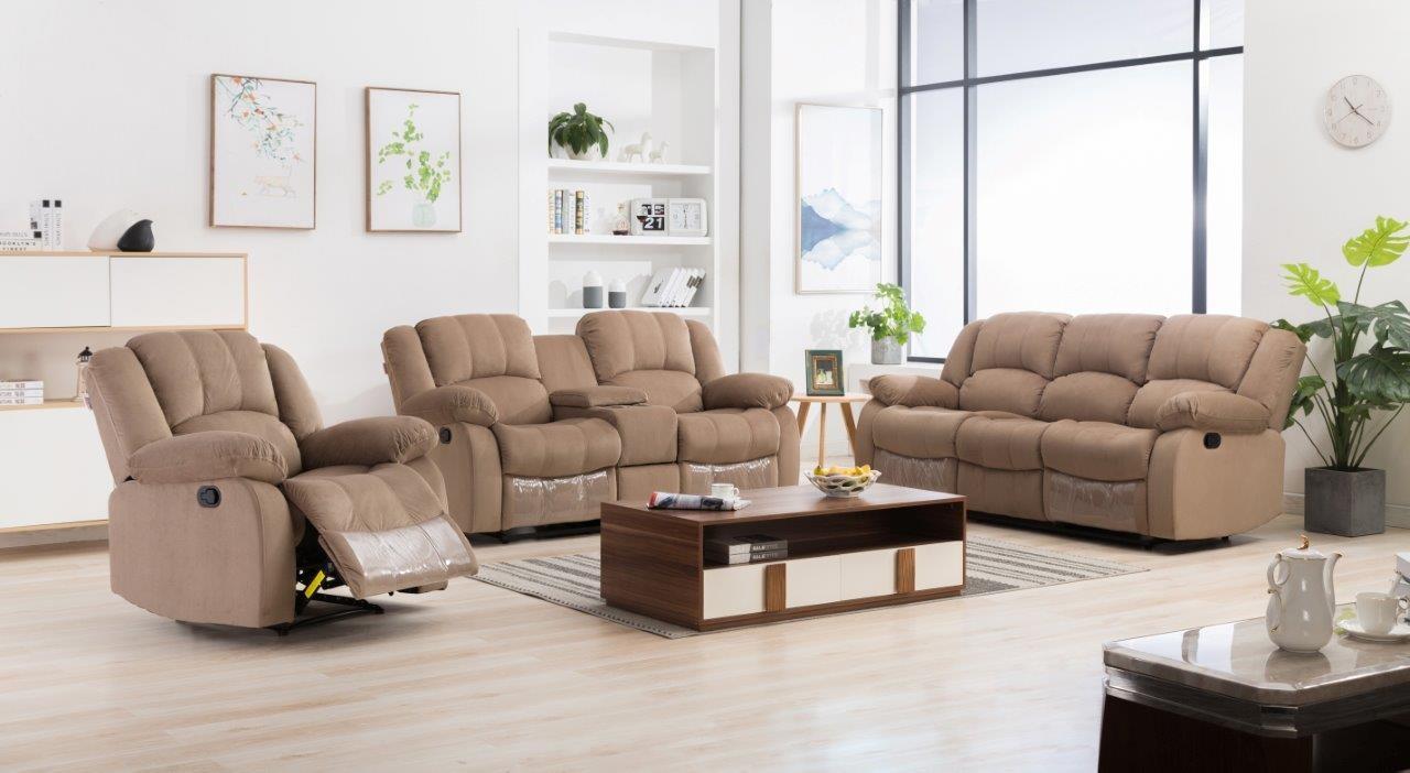 Terrence Fabric Sofa Set - Light Brown