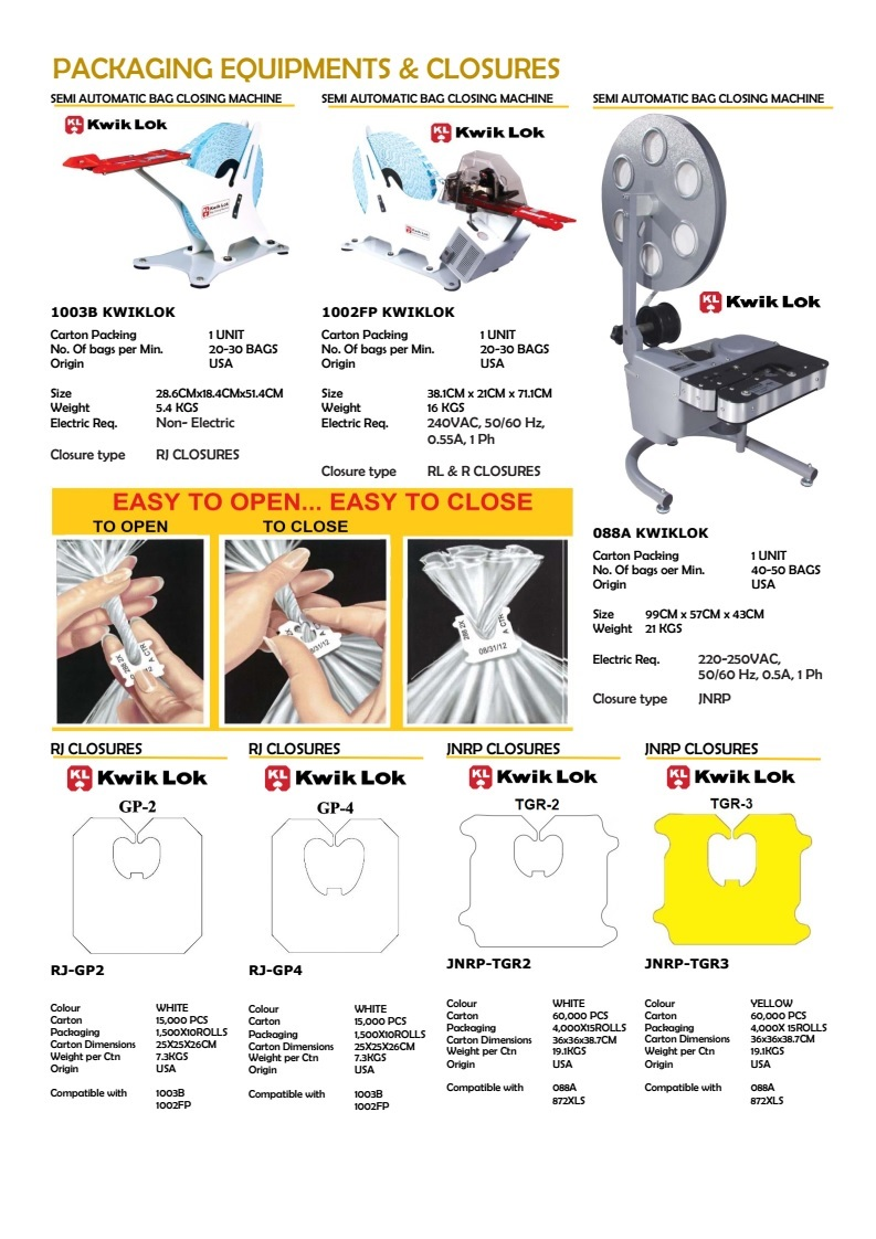 Packaging Equipment's & Closures