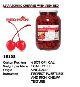 Maraschino Cherries with Stem Red 1Gal