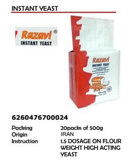 Razavi Instant Yeast 20Packs of 500g