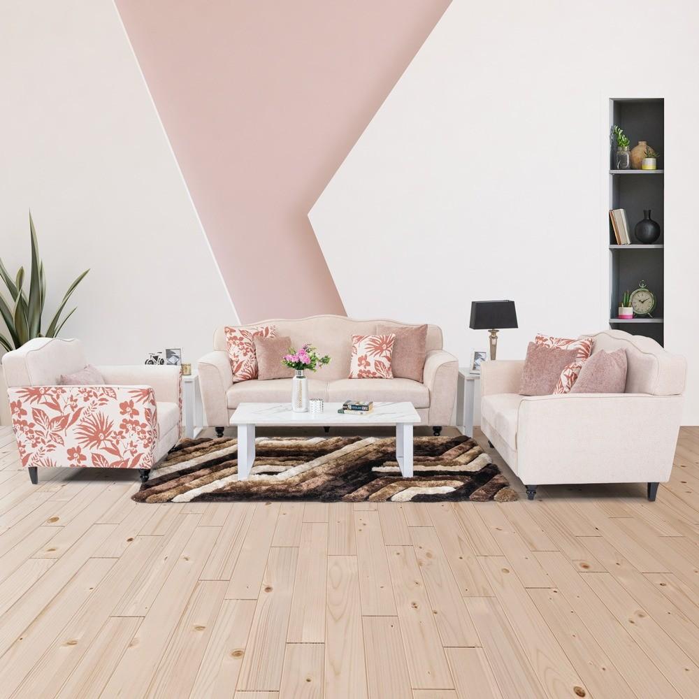 Eunice 3+2+1 Fabric Sofa Set - Cream