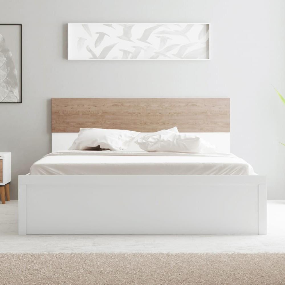 Aurora 180X200 King Bed - White / Natural Oak
