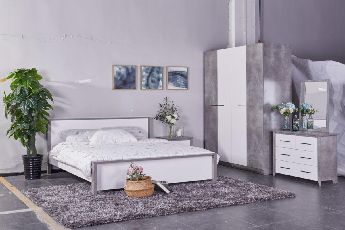 Allano 180X200 King Bed - Cemment / White