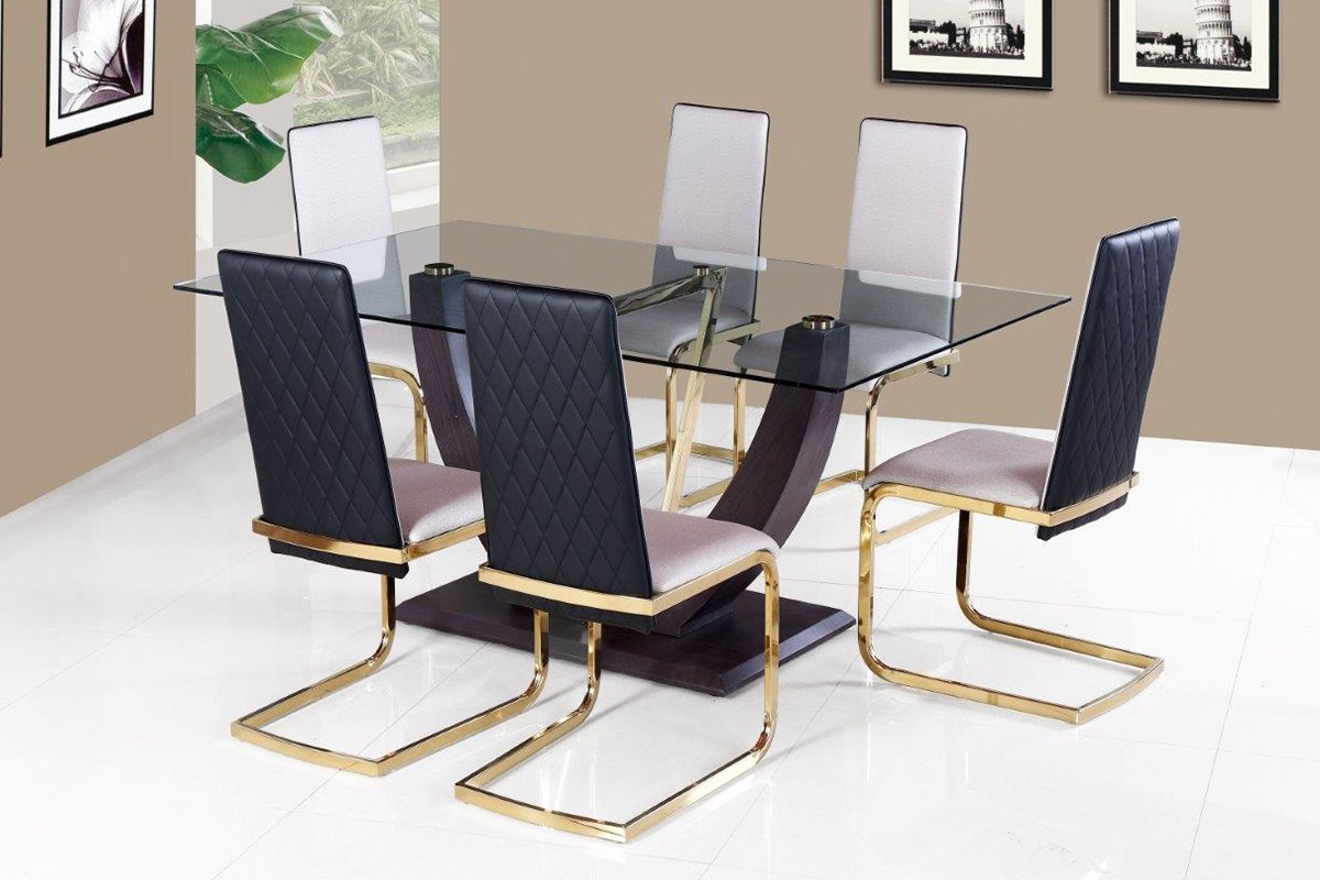 Vicente 1+6 Glass Dining Set - White / Golden