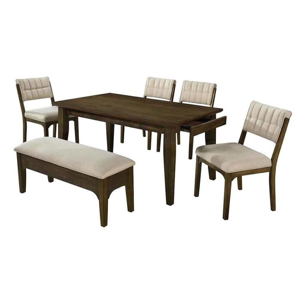 Steppe 1+4+1 Dining Set - Oak / Beige