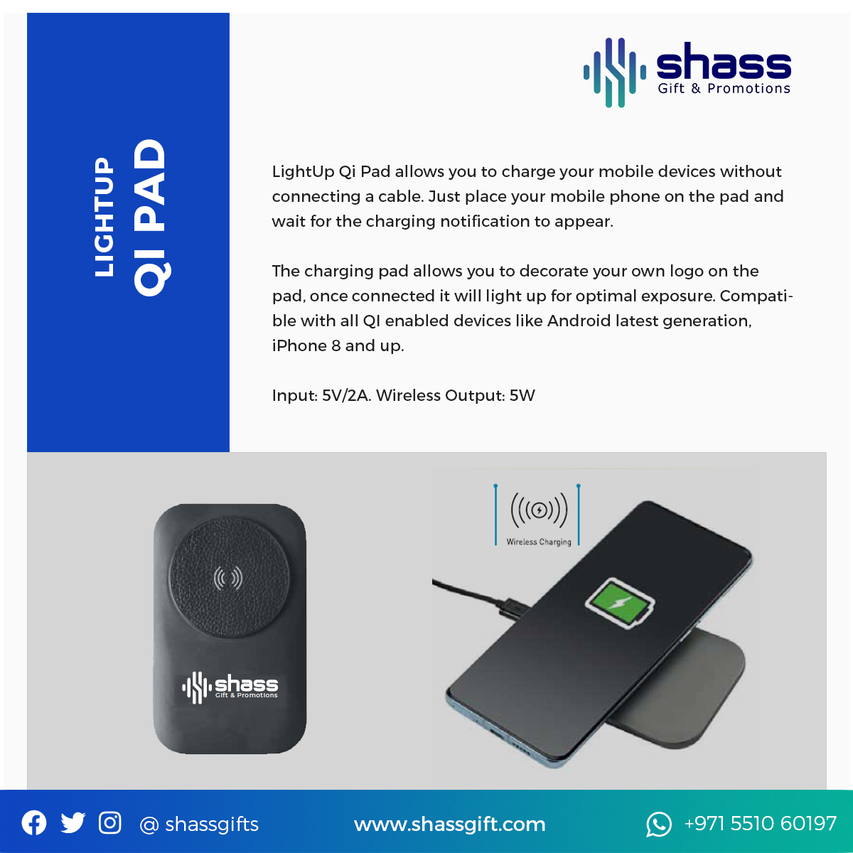 Light Up Qi Pad Wireless Charger